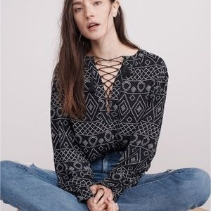 Madewell | Caravan Lace Up Blouse